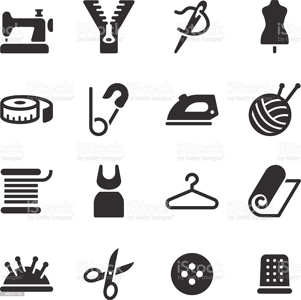 Tailor Icons vector art illustration
