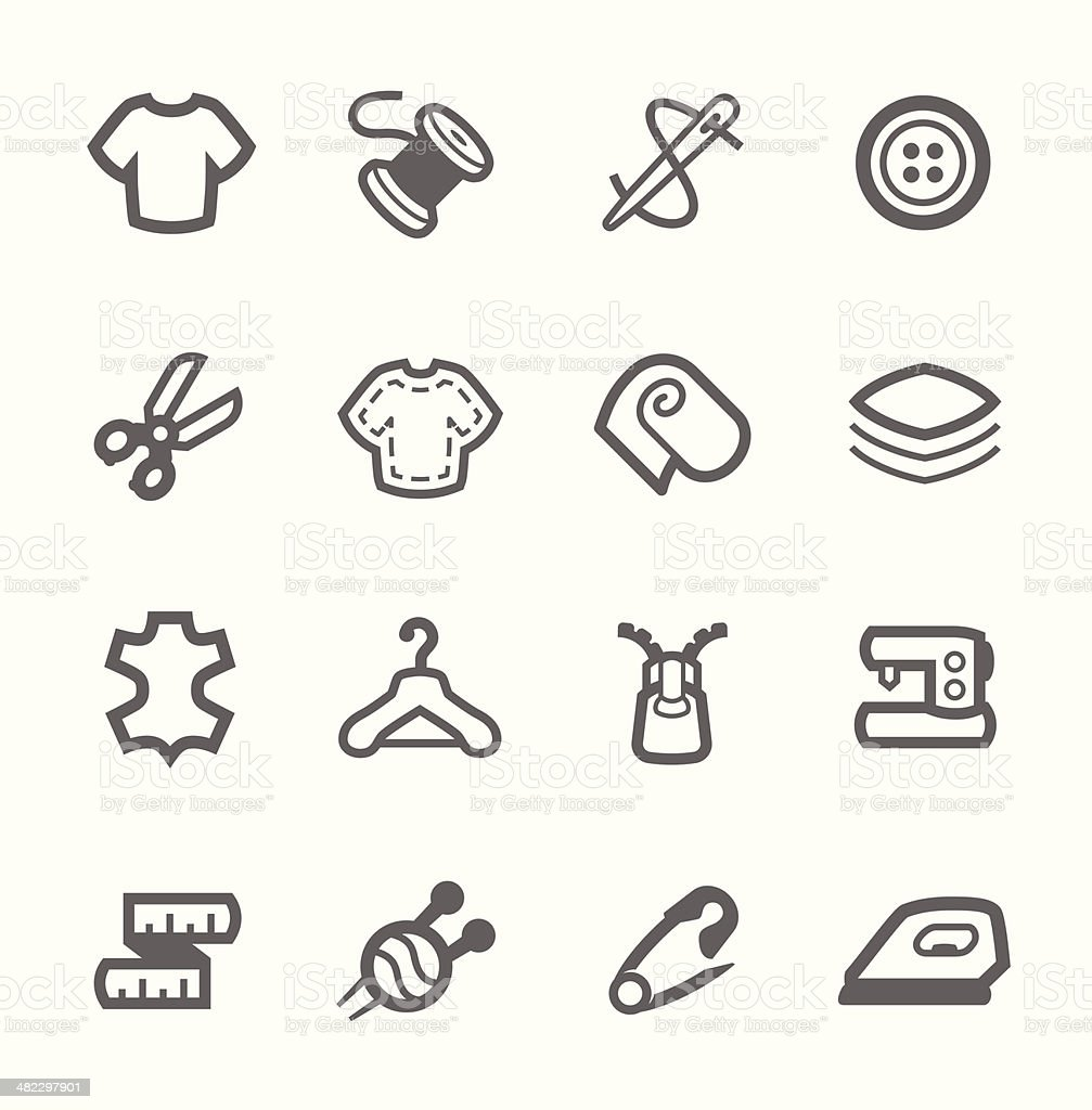 Tailoring icons vector art illustration
