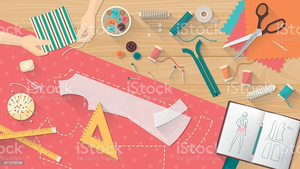 Tailor's table vector art illustration