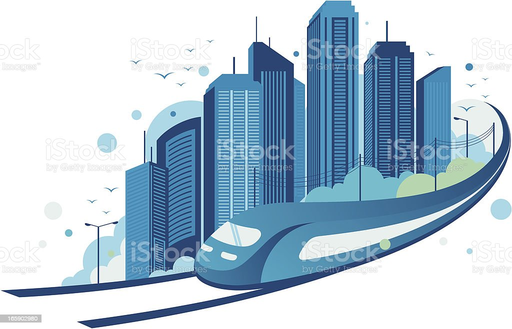 tain with city backgground royalty-free stock vector art