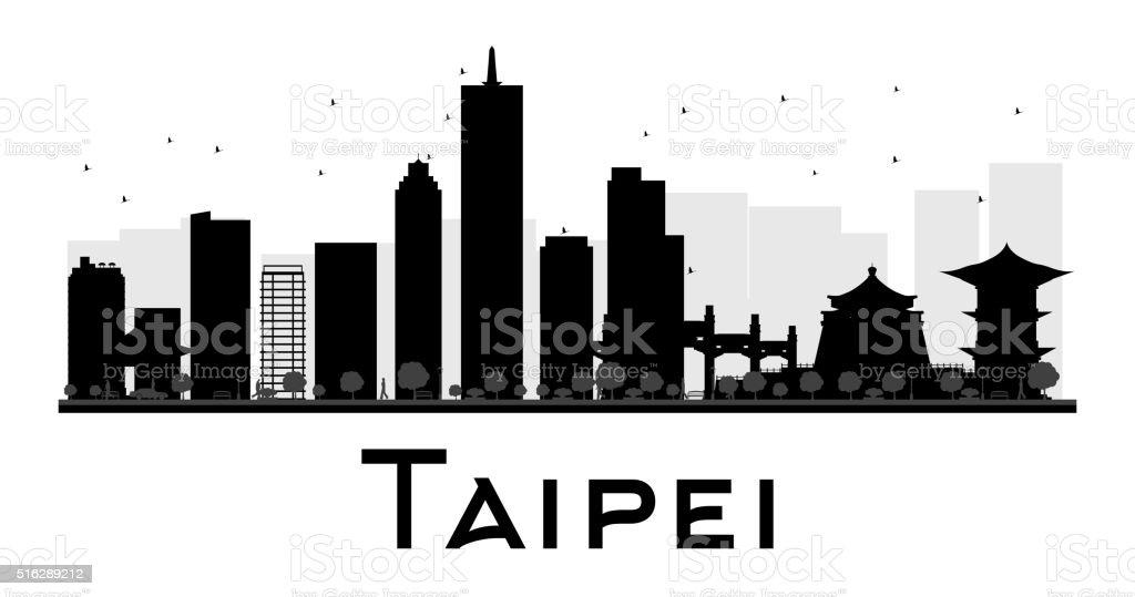 Taipei City skyline black and white silhouette. vector art illustration