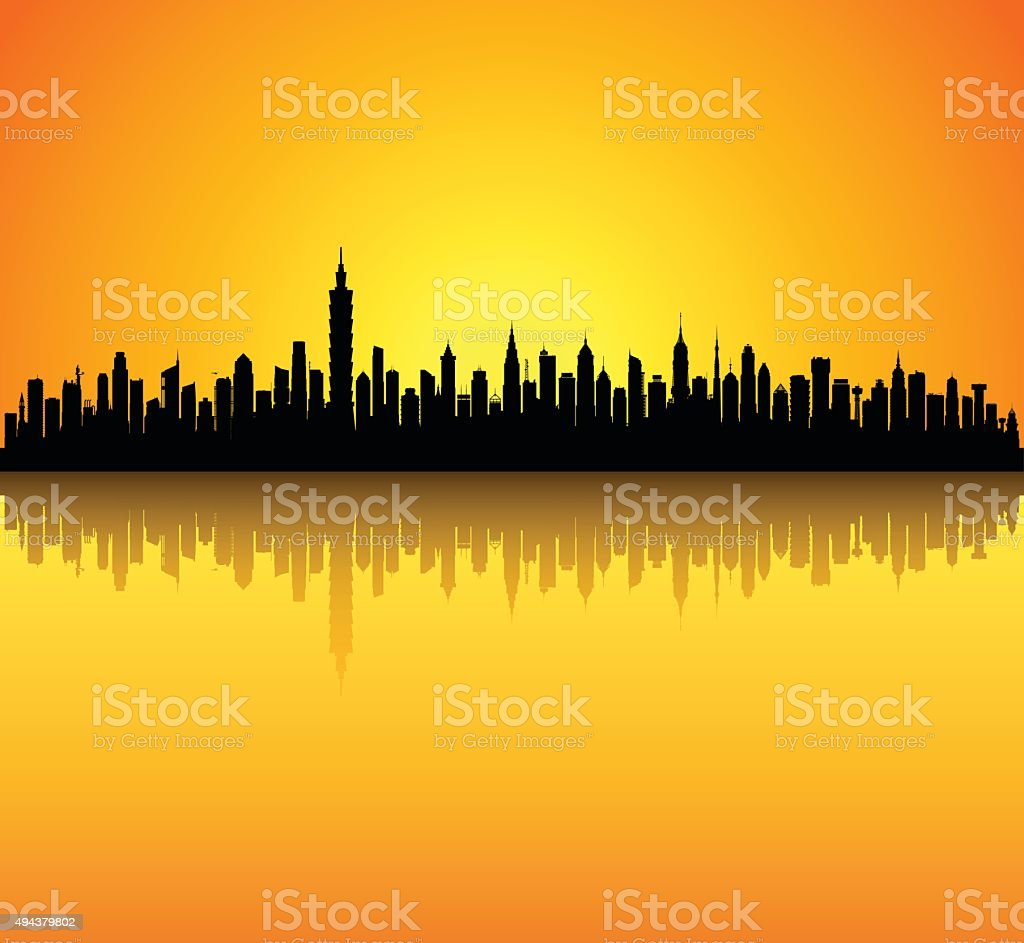 Taipei (Buildings Are Detailed, Moveable and Complete)ii vector art illustration