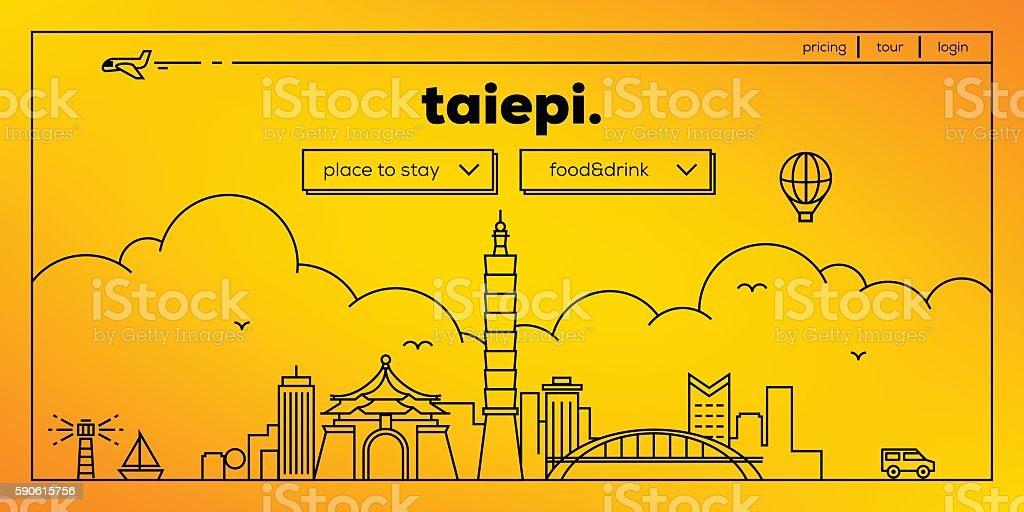 Taipei Modern Web Banner Design with Vector Linear Skyline vector art illustration