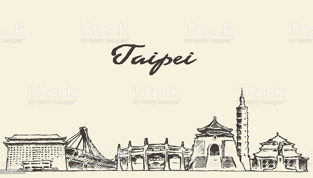 Taipei skyline vector illustration drawn sketch vector art illustration