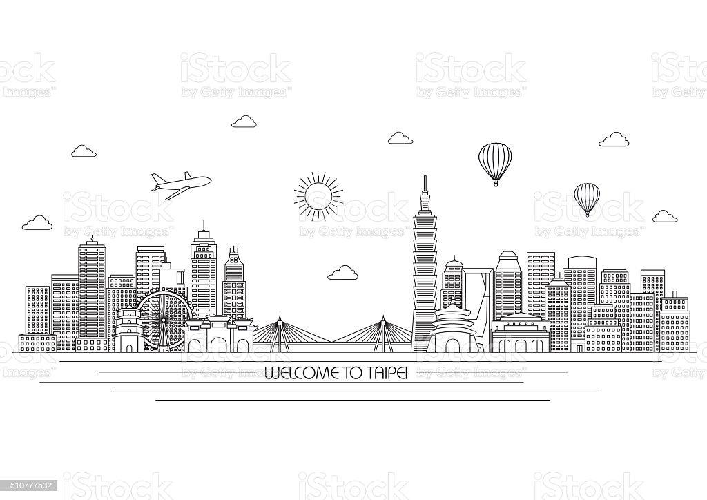Taipei skyline. Vector line illustration. Line style design vector art illustration