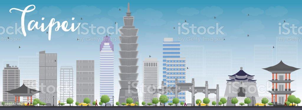 Taipei skyline with grey landmarks and blue sky vector art illustration
