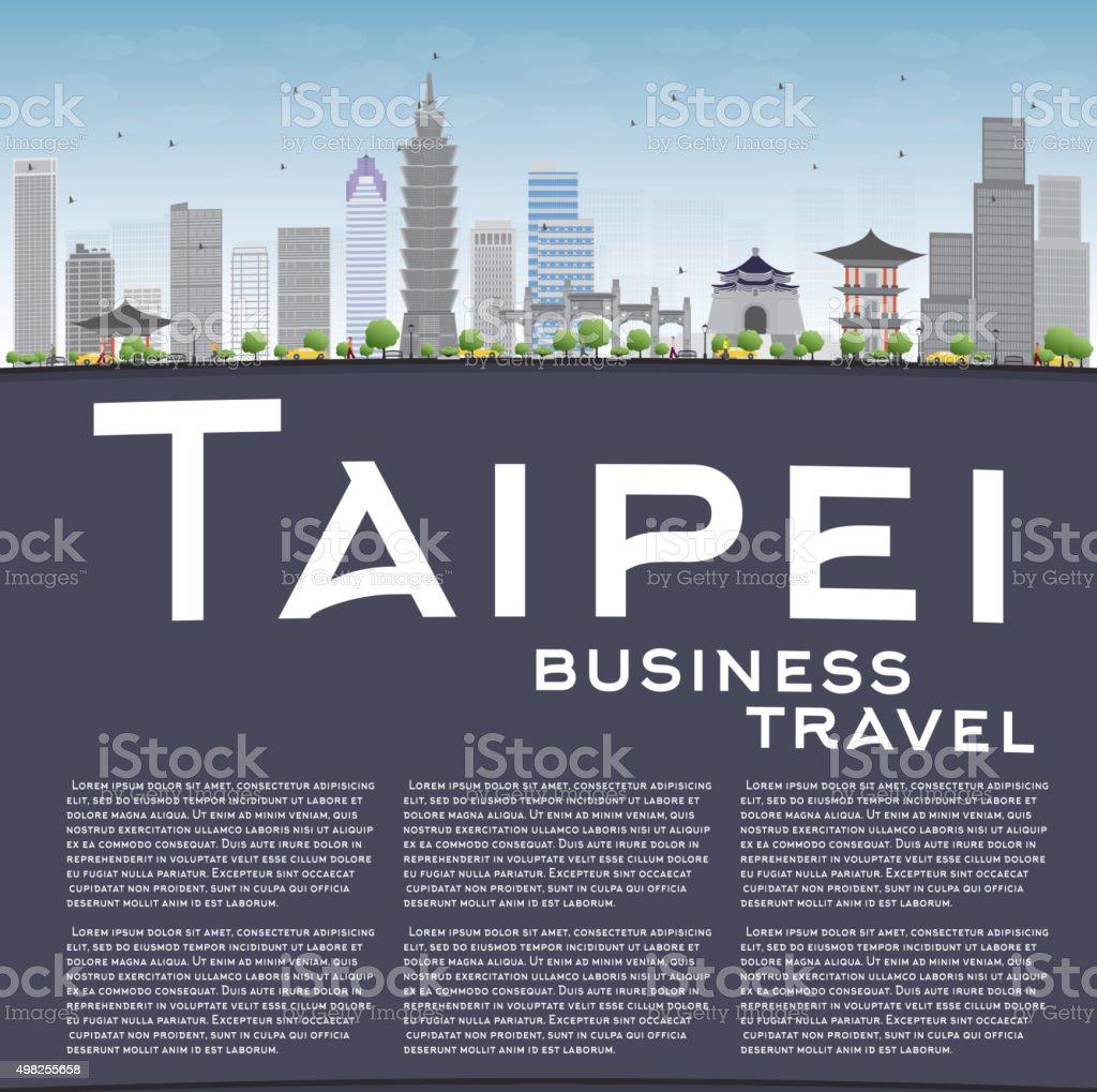 Taipei skyline with grey landmarks, blue sky and copy space. vector art illustration