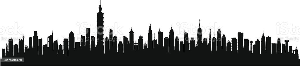 Taipei (Buildings Are Detailed, Moveable and Complete) vector art illustration
