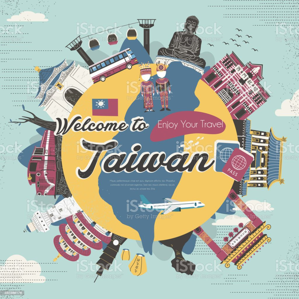 Taiwan attractions collection in flat design style vector art illustration