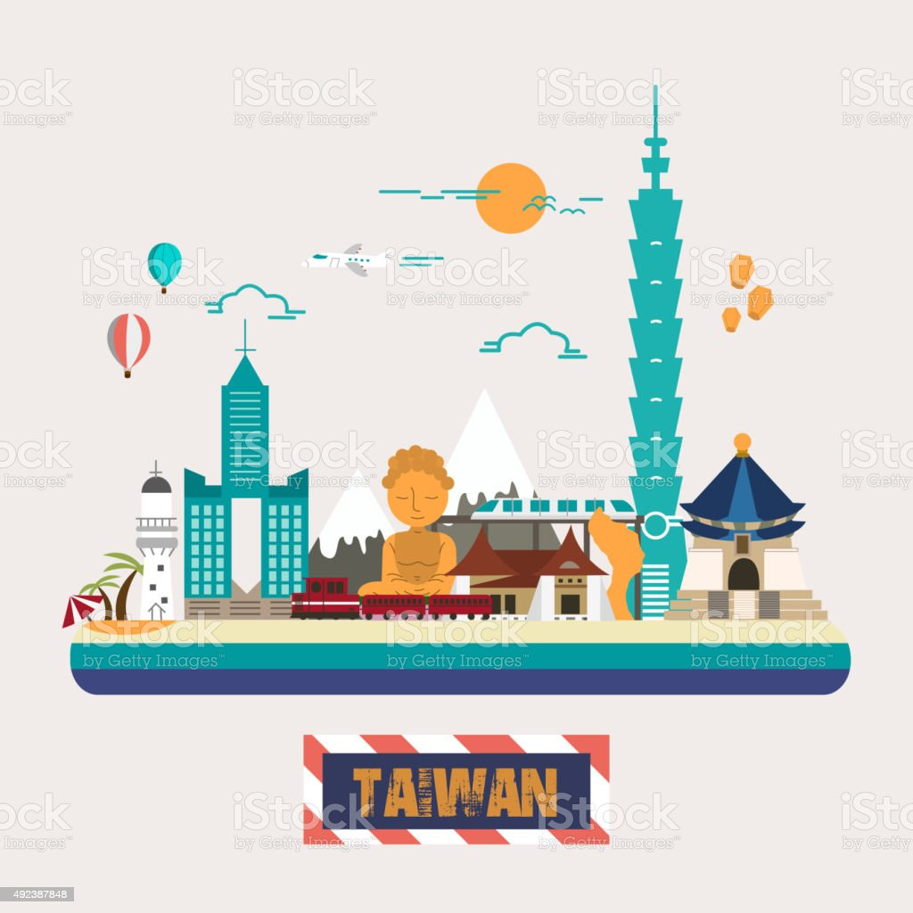 Taiwan attractions collection vector art illustration