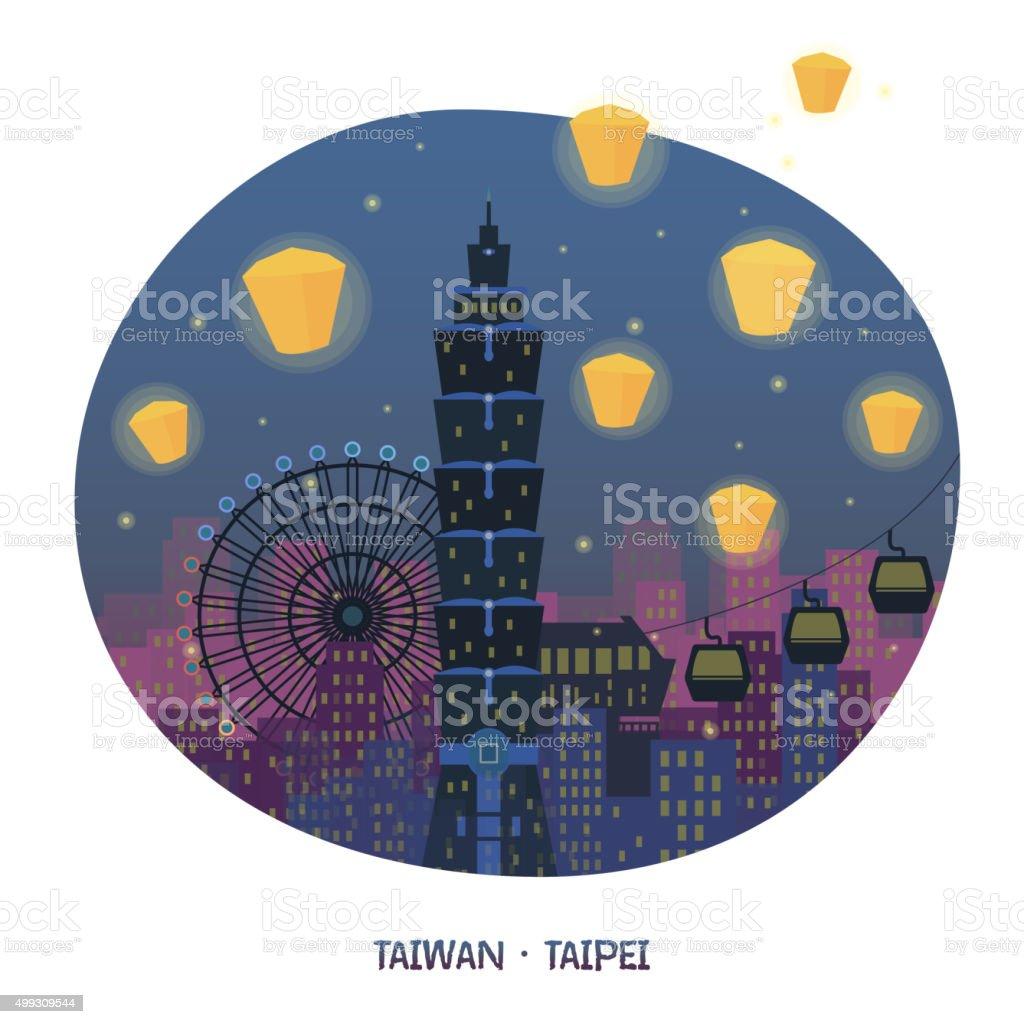 Taiwan night scenery vector art illustration