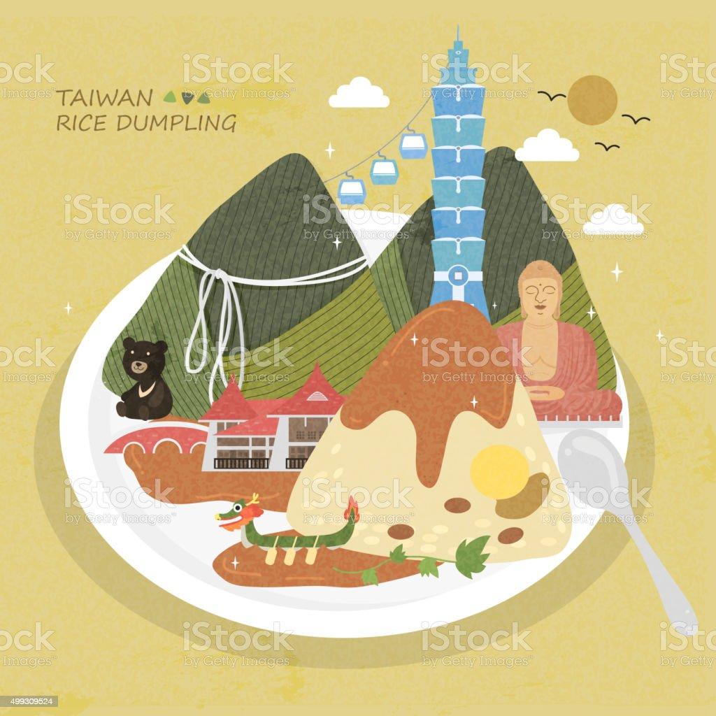 Taiwan rice dumpling vector art illustration