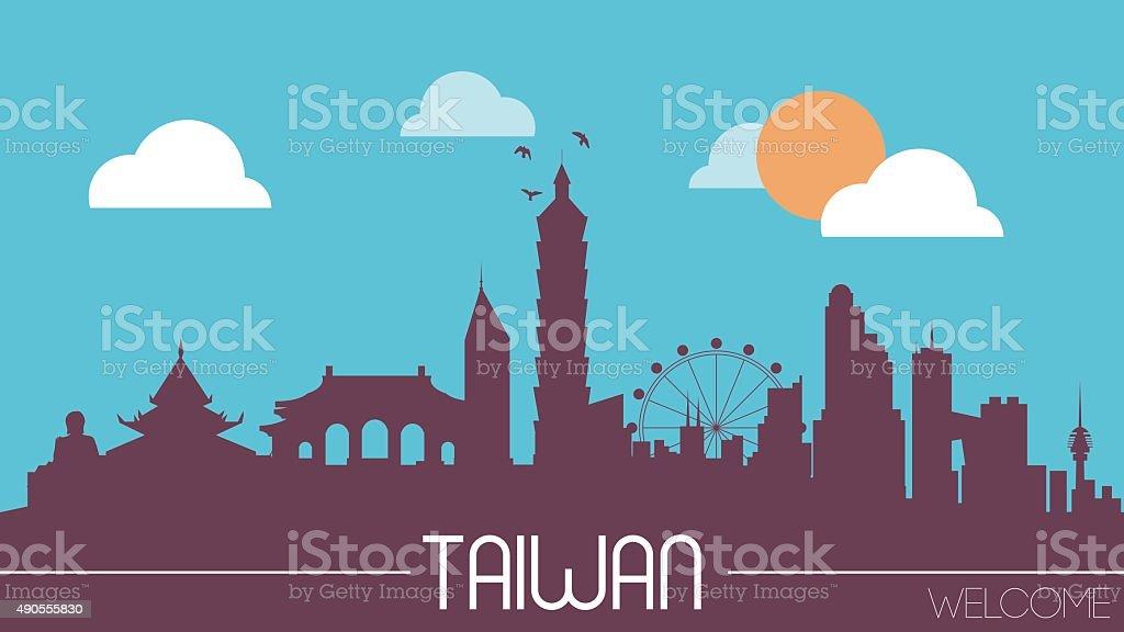 Taiwan skyline silhouette vector art illustration