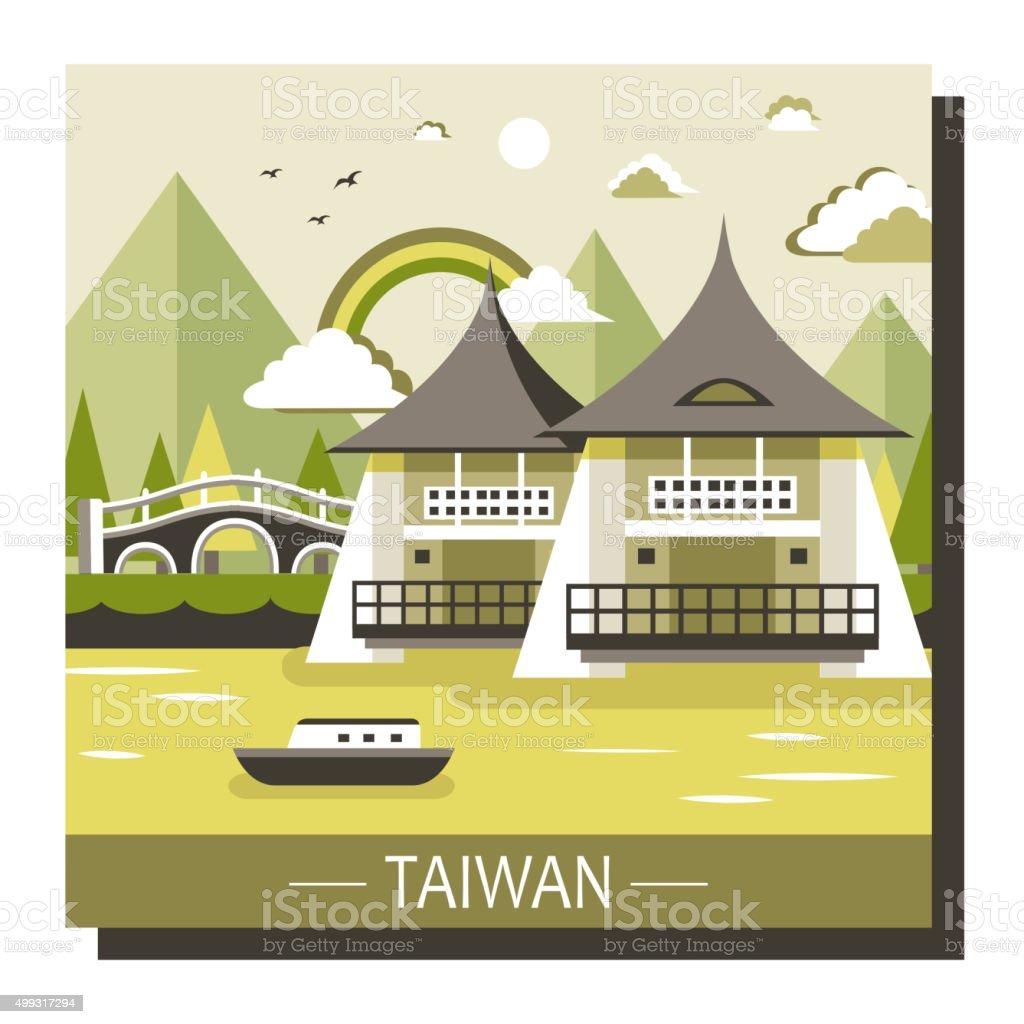 Taiwan travel attractions vector art illustration