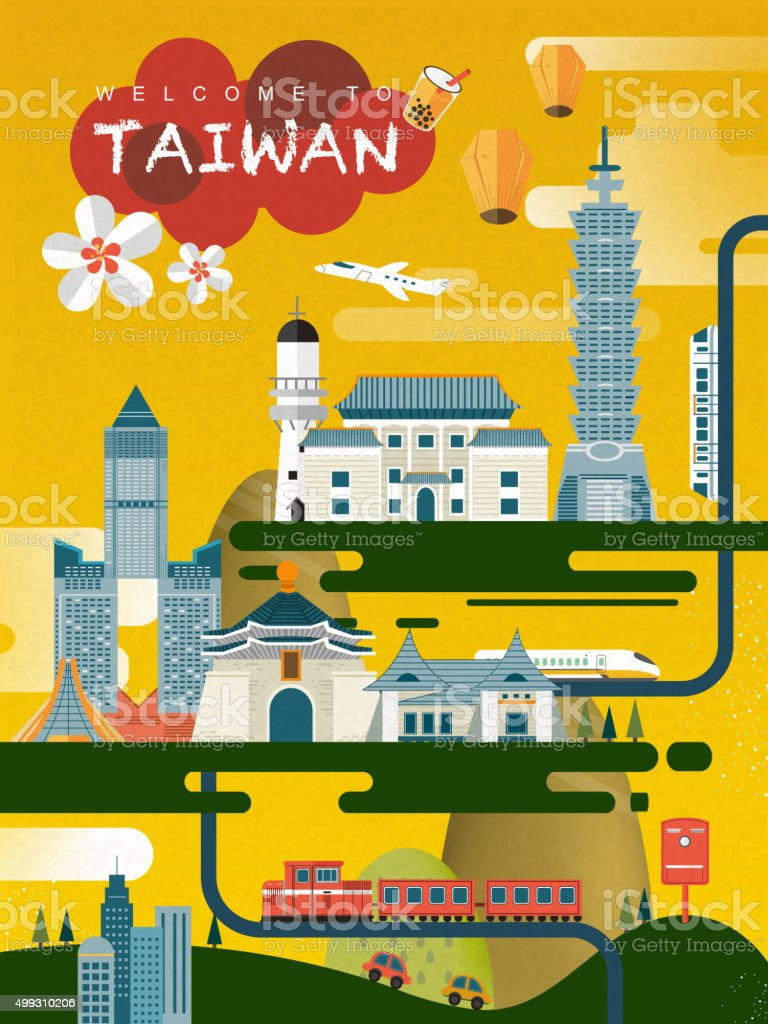Poster design for free - Taiwan Travel Poster Design Royalty Free Stock Vector Art