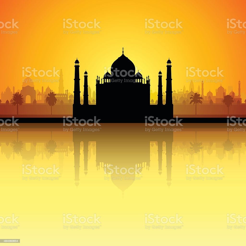 Taj Mahal (All Buildings Are Complete and Moveable) vector art illustration