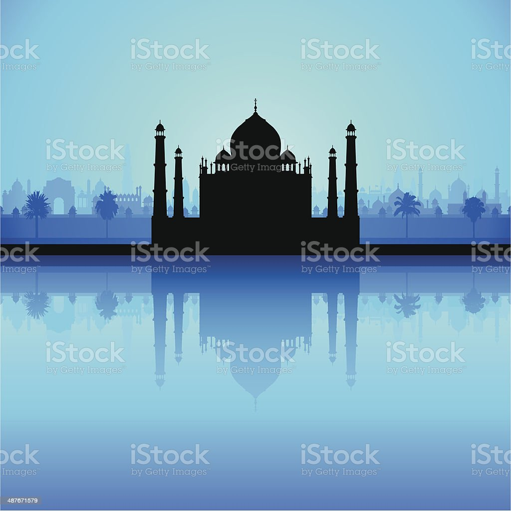 Taj Mahal (Detailed, Moveable Buildings) vector art illustration