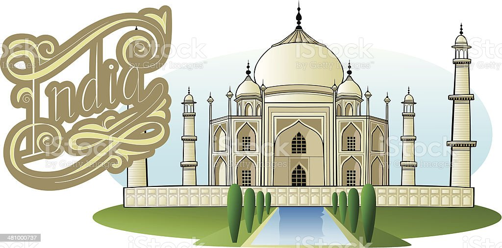 Taj Mahal, with India lettering vector art illustration