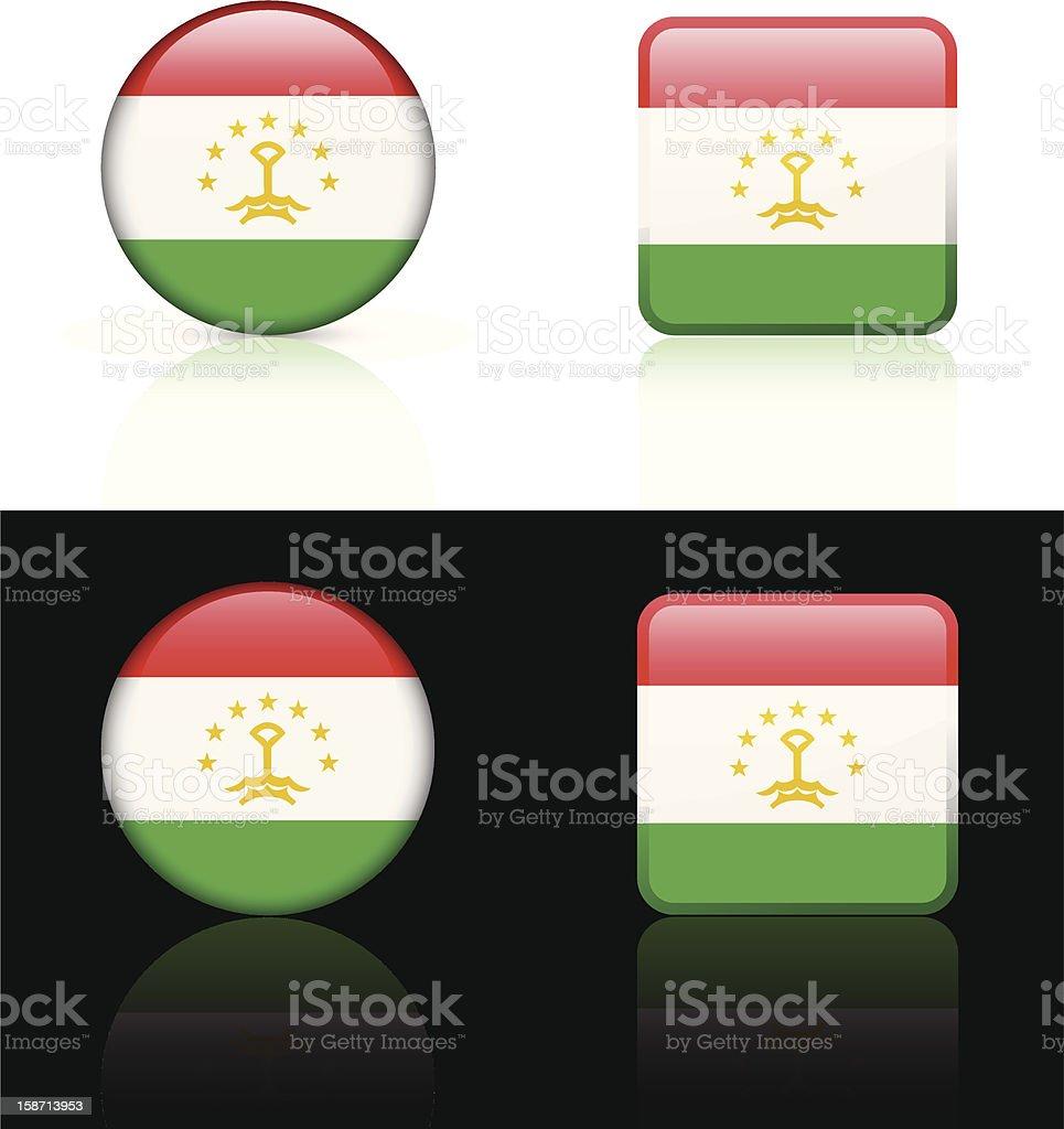 Tajikistan Flag Button Set royalty-free stock vector art