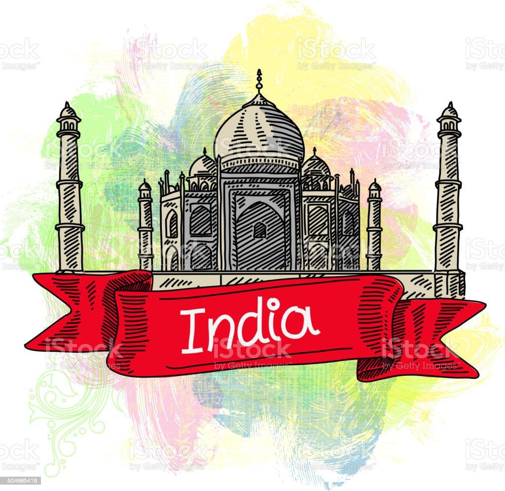 Tajmahal India, Drawing vector art illustration