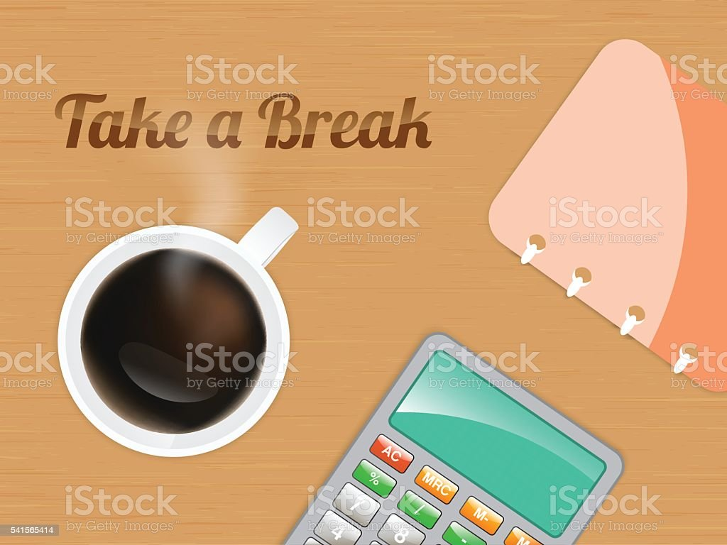 take a break and relaxing with cup of coffee vector art illustration