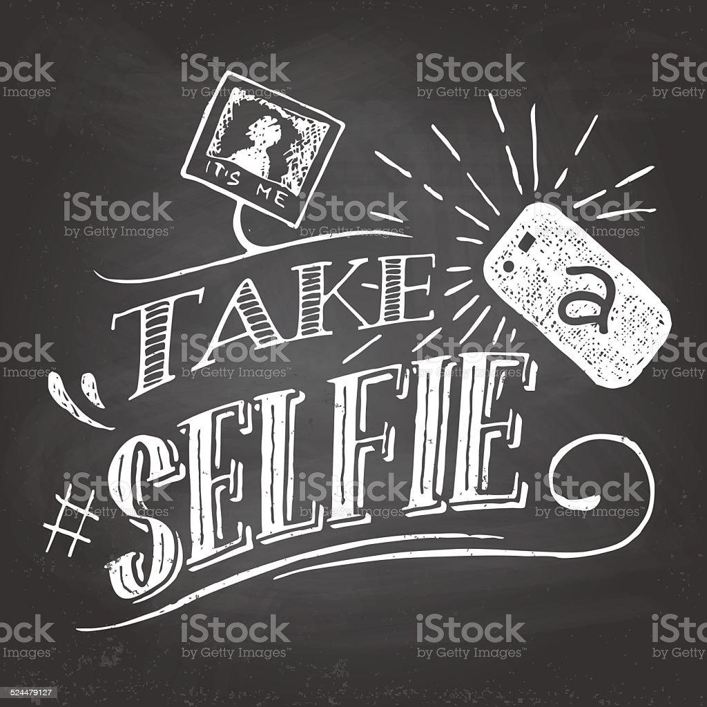 Take a selfie on blackboard vector art illustration