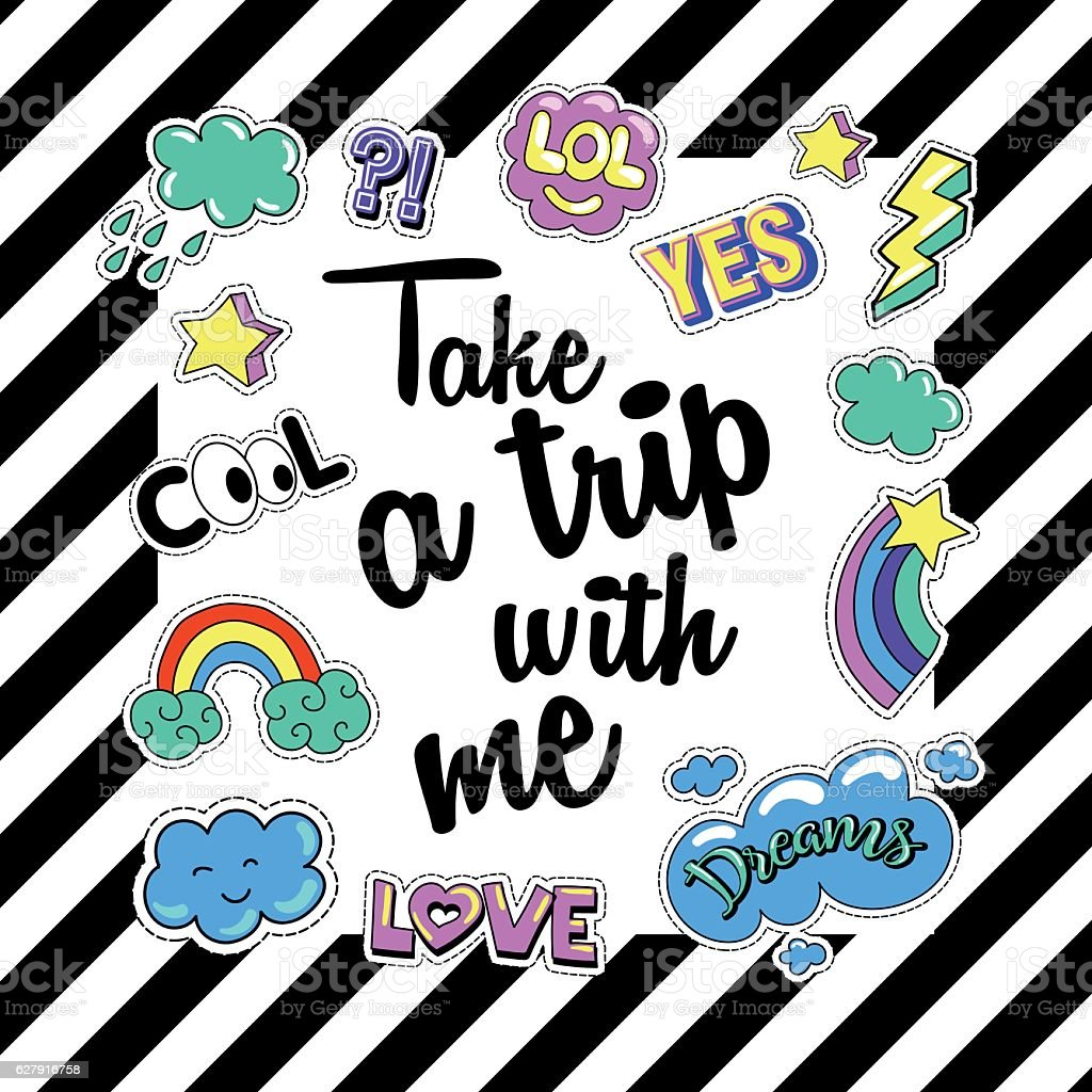 Take a trip with me. Poster, banner  Patch Badges. Vector vector art illustration