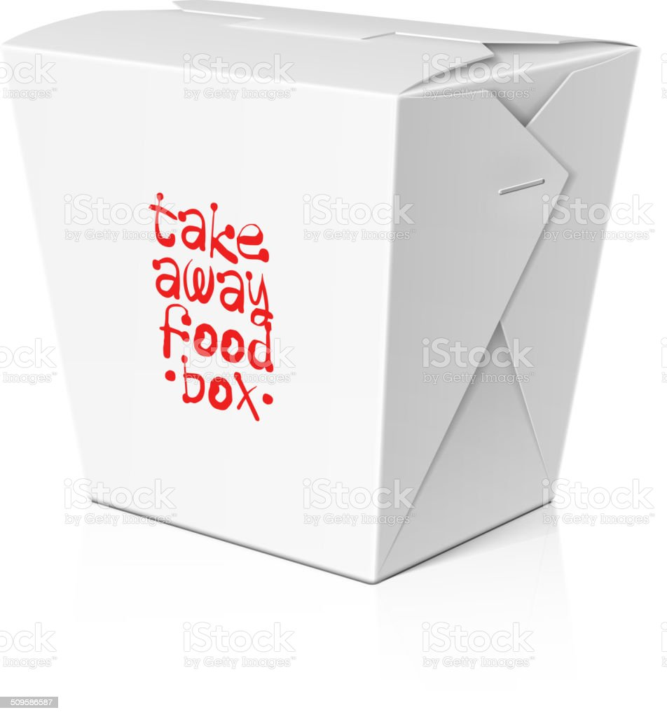 Take away food, noodle box vector art illustration