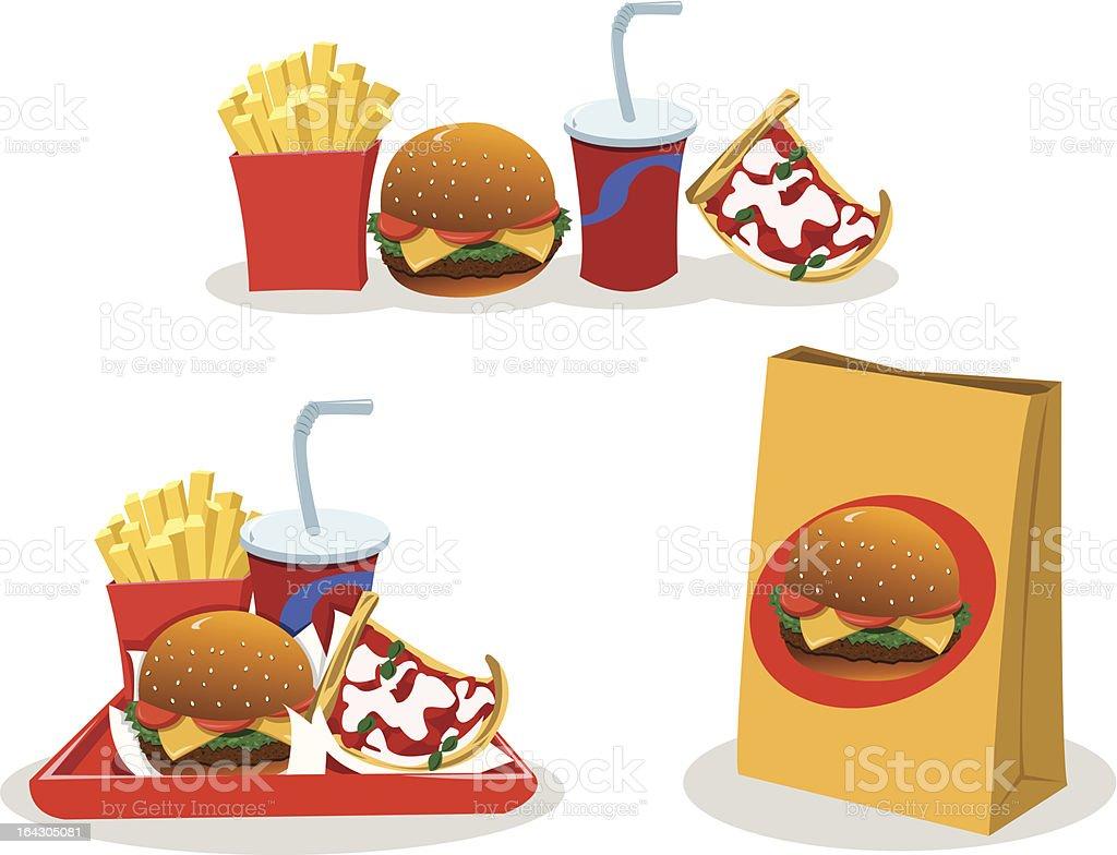 Take away food vector art illustration