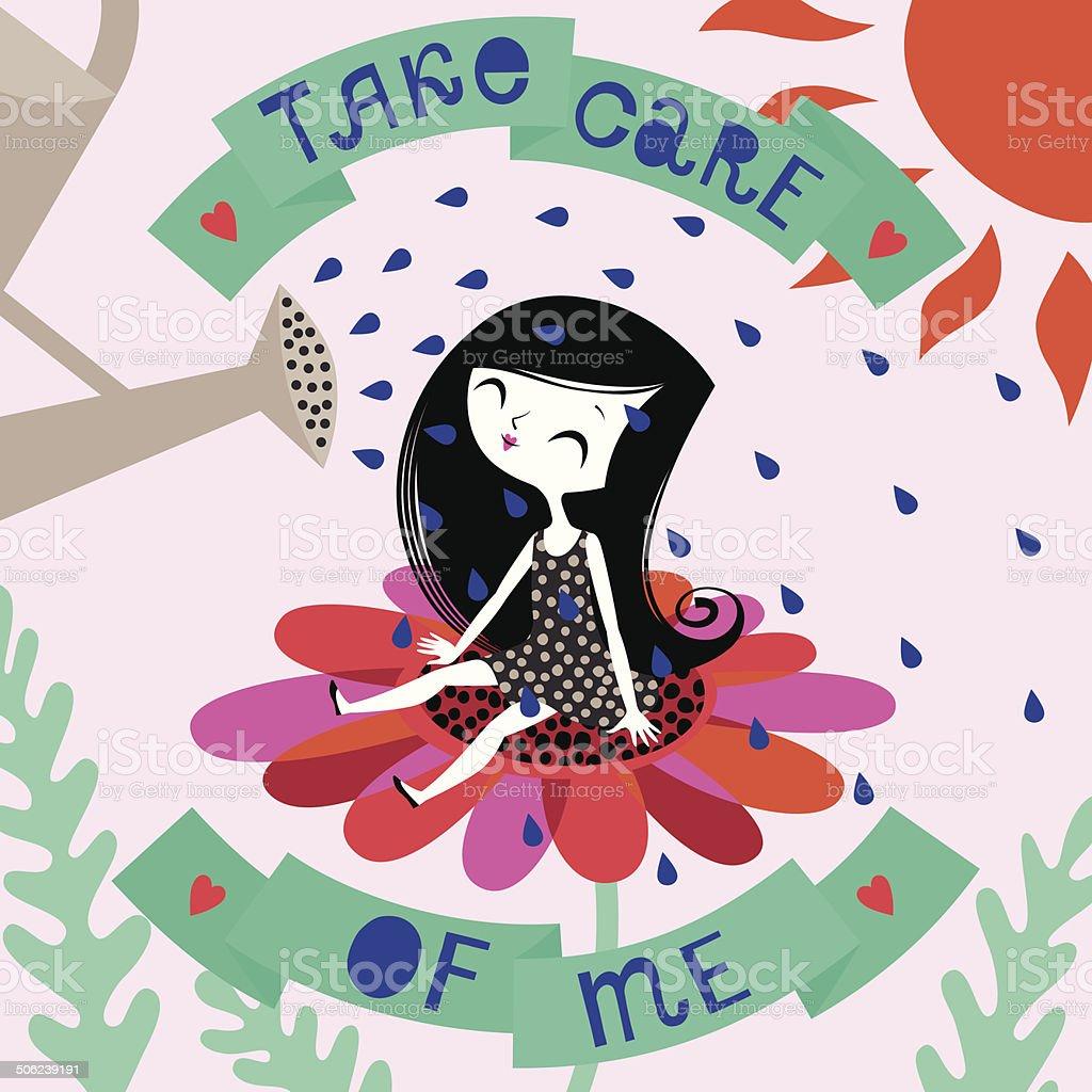 Take Care of Me. vector art illustration
