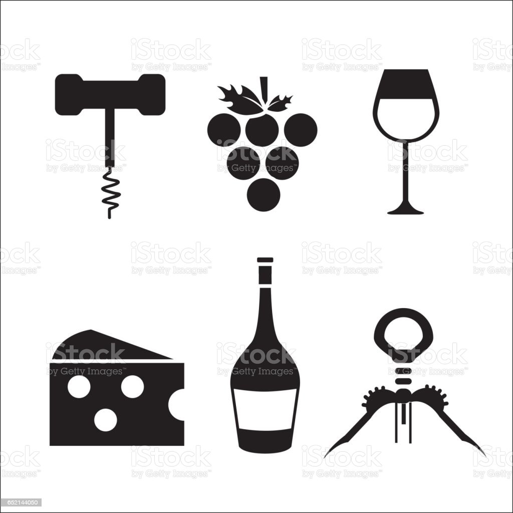 take out cork, grape, cheese, glass and bottle wine vector art illustration