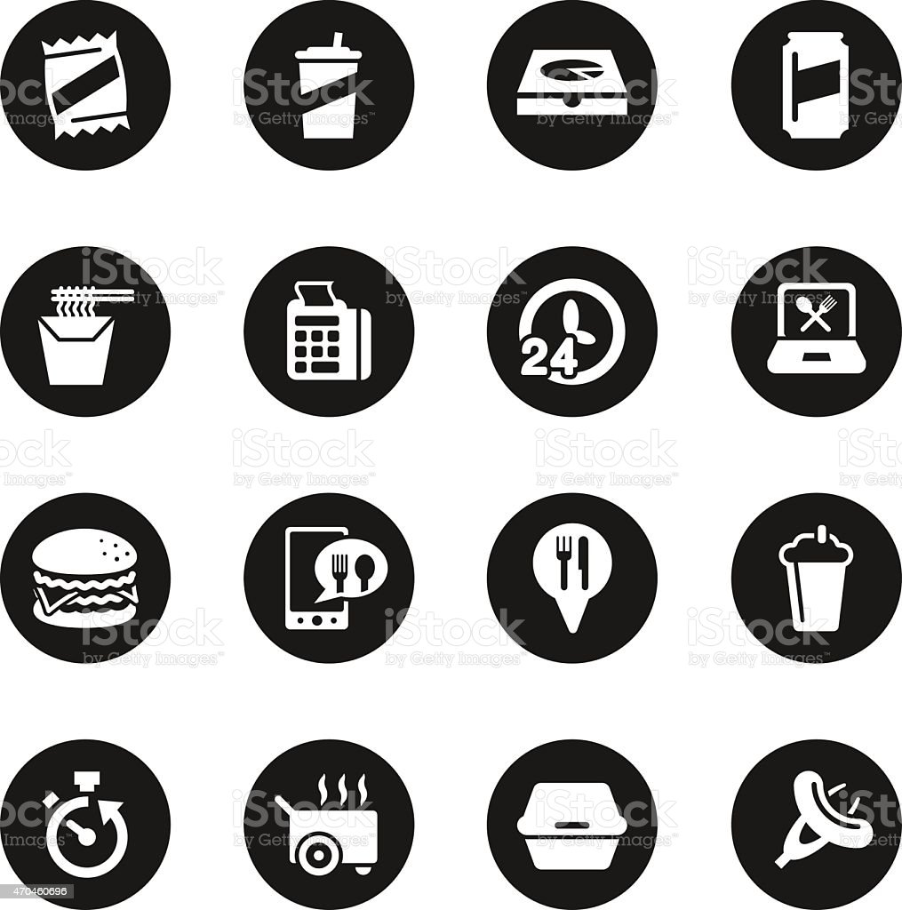 Take Out Food Icons - Black Circle Series vector art illustration