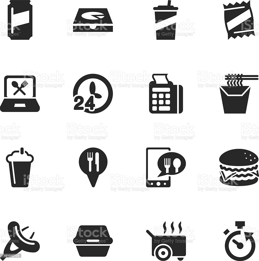 Take Out Food Silhouette Icons vector art illustration