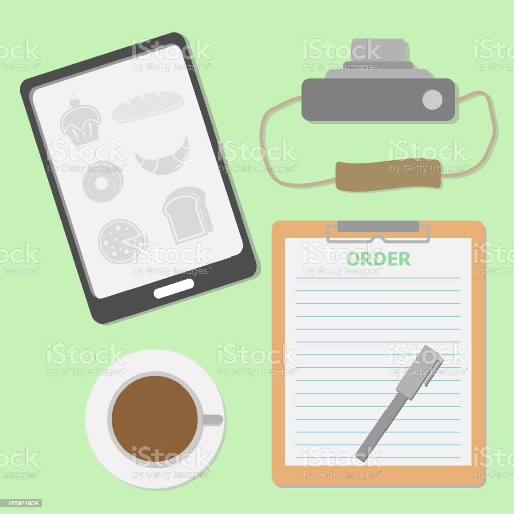 Take the order in coffee shop royalty-free stock vector art