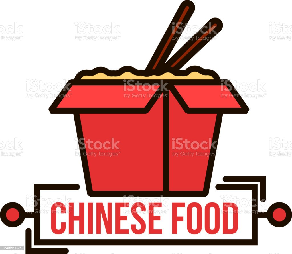 Takeaway chinese noodle box thin line badge vector art illustration