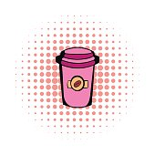 Takeaway coffee cup comics icon