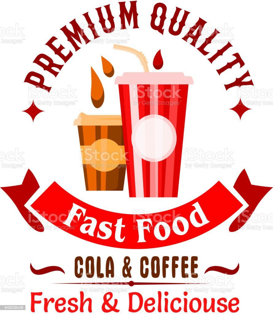 Fast food sweet beverages badge of takeaway coffee and soda drinks in...