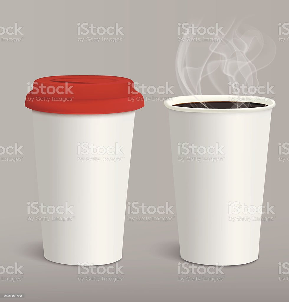 Take-out coffee in cardboard closed and opened cups. Vector illustration vector art illustration