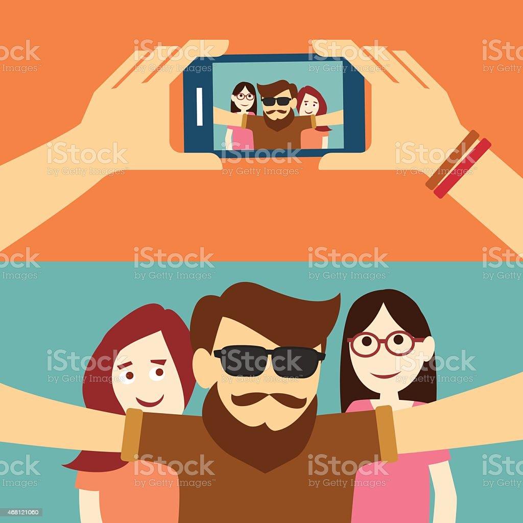 taking a selfie photo flat design vector art illustration
