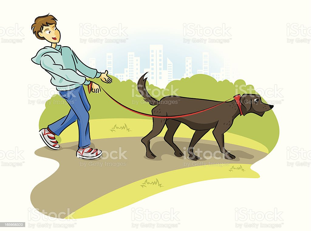 Taking A Walk With Man's Best Friend royalty-free stock vector art
