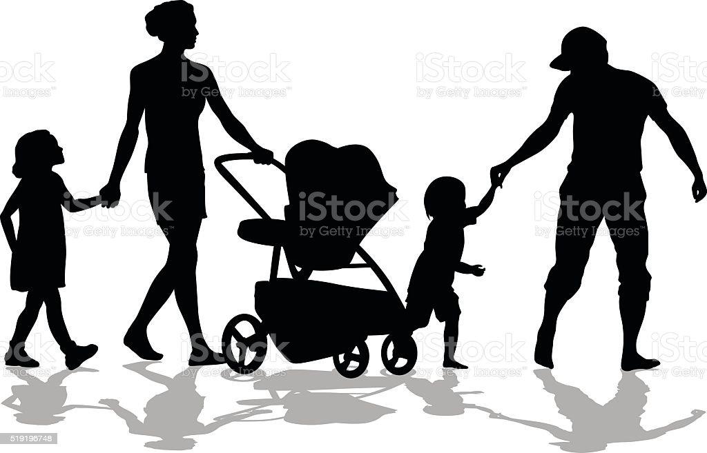 Taking Children For A Walk vector art illustration