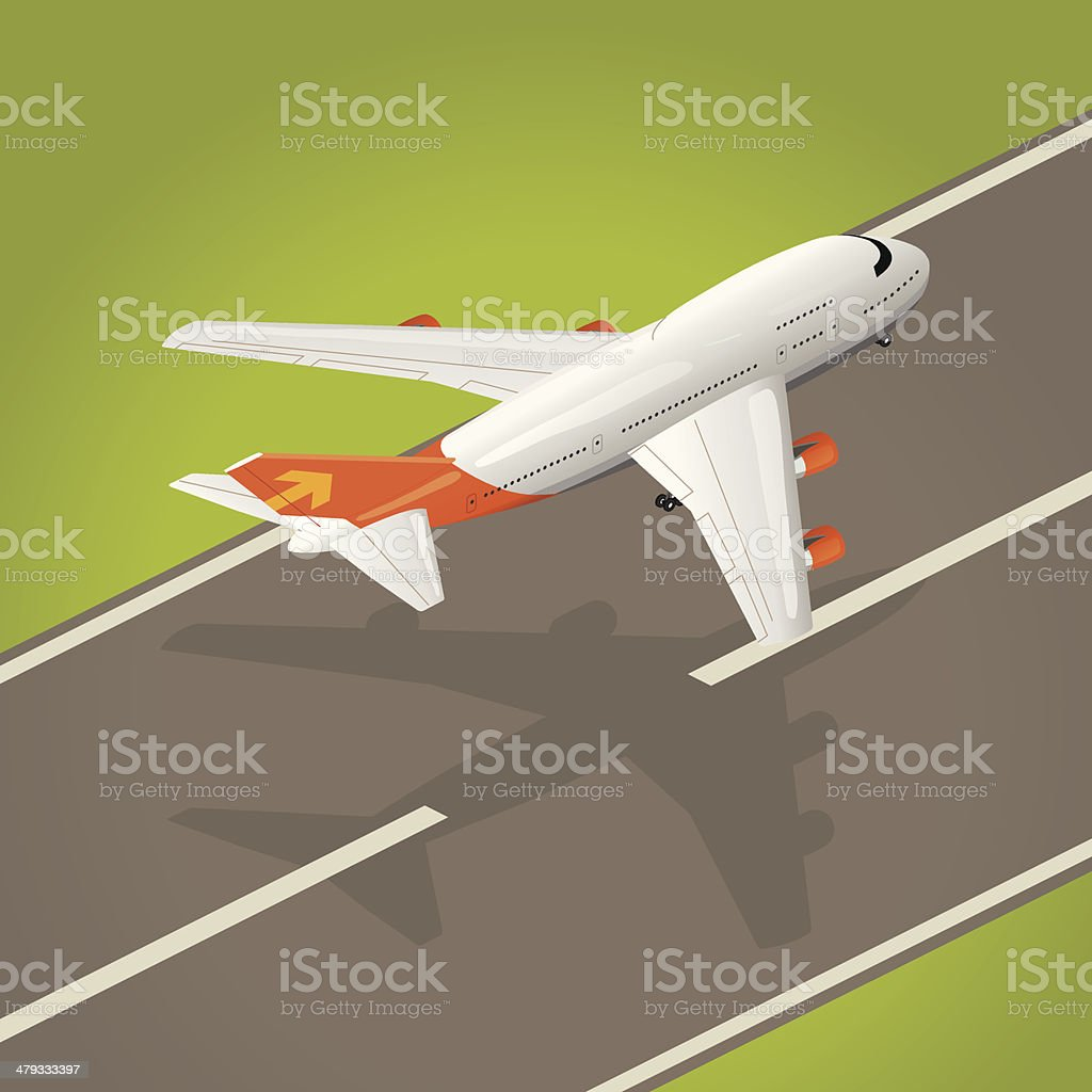 taking off vector art illustration