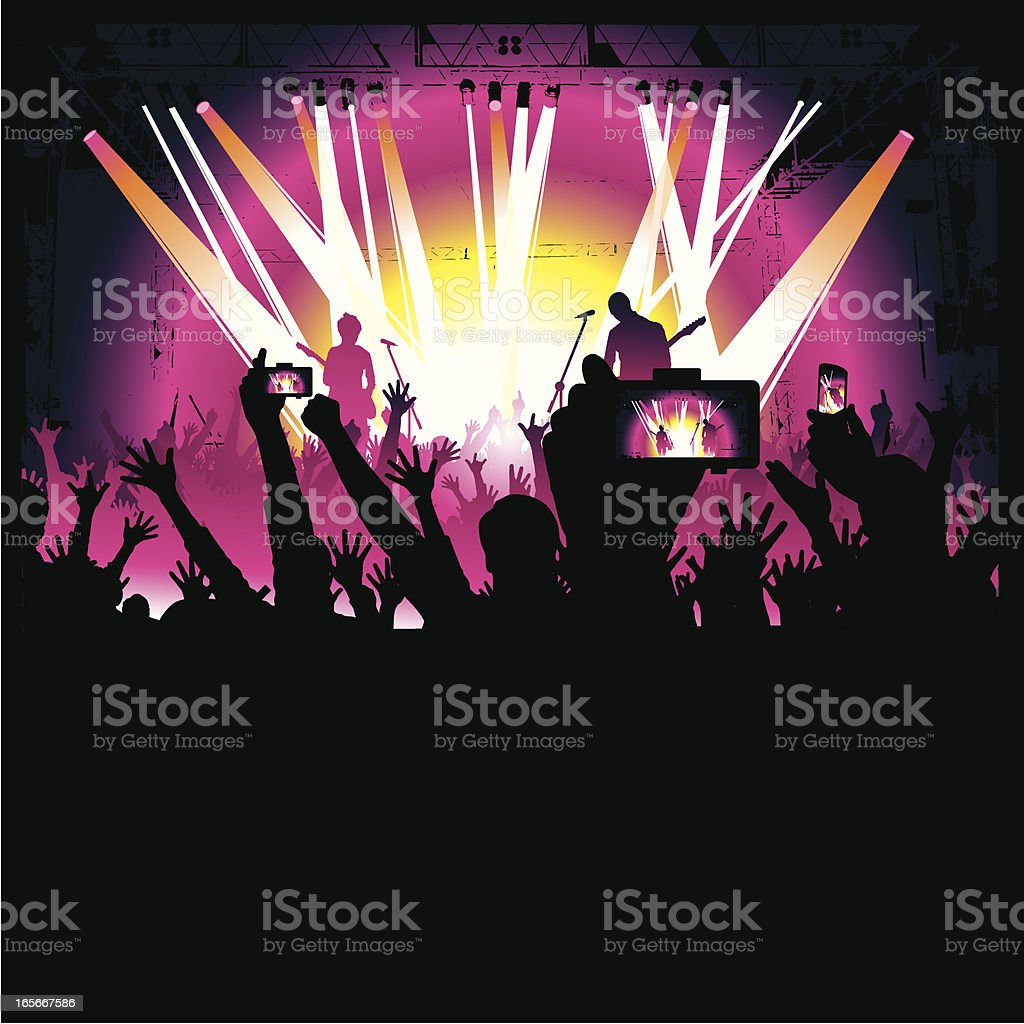 taking photos at the concert royalty-free stock vector art