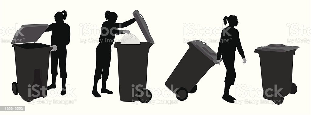 TakingOut The Trash Vector Silhouette royalty-free stock vector art