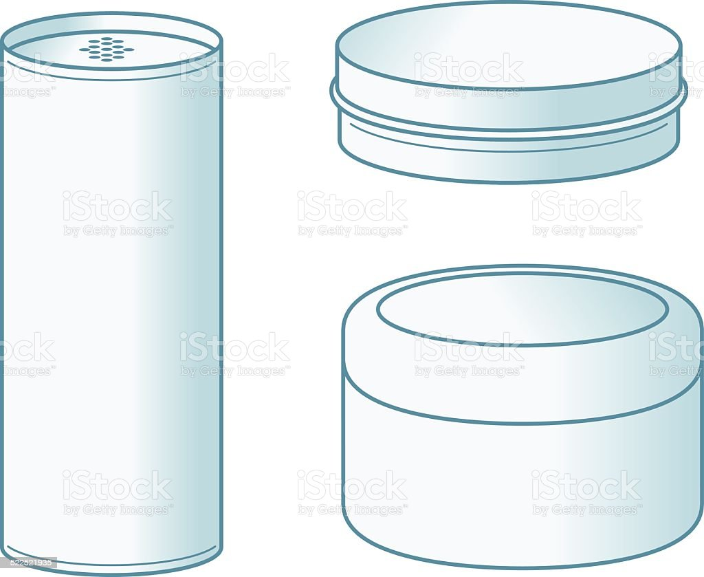 Talc, Jar and Tin, vector art illustration