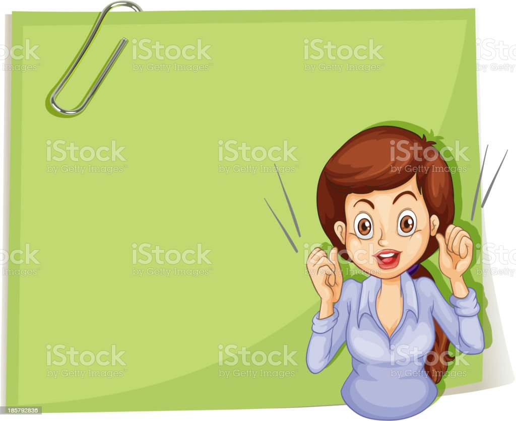 talkative woman in front of empty signage with clip royalty-free stock vector art