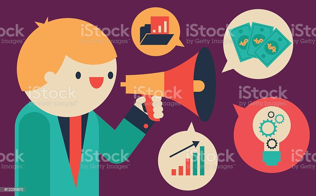 Talking about Business vector art illustration