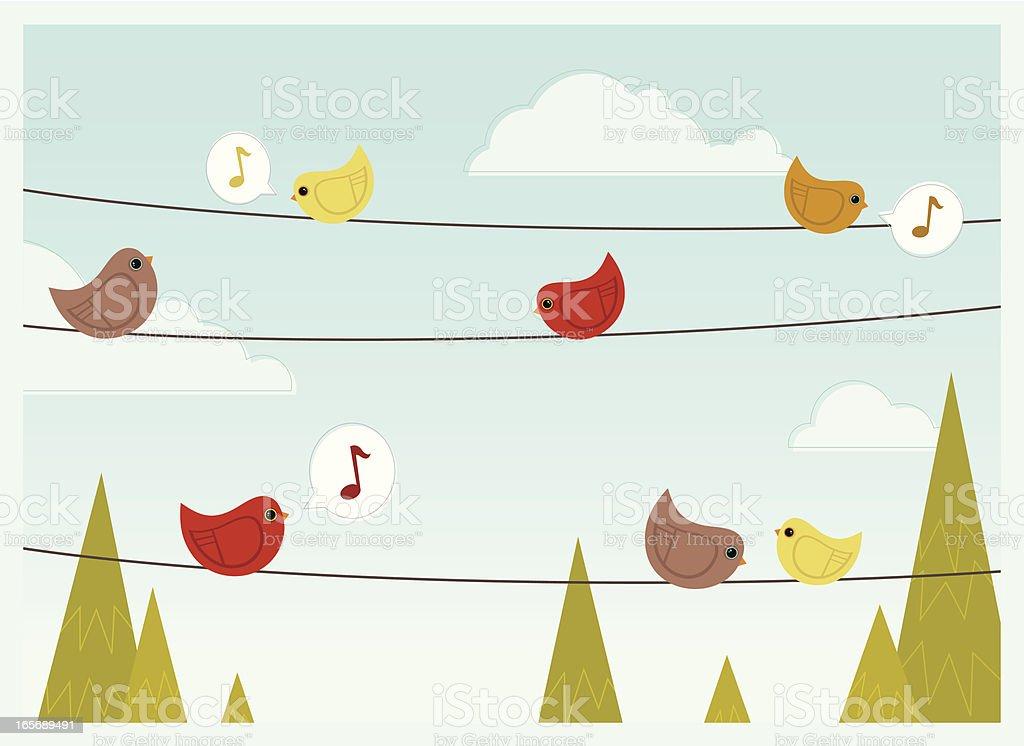 Talking Birds vector art illustration