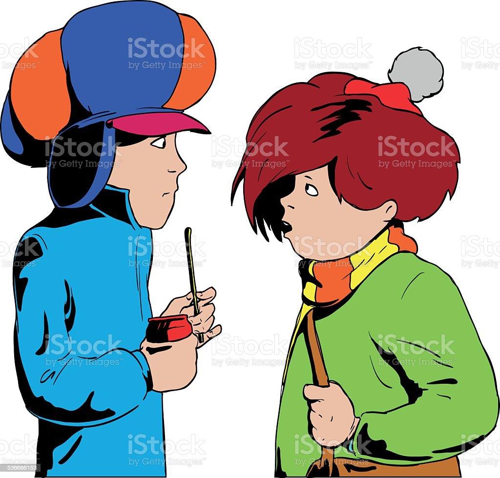 Talking boys. vector art illustration
