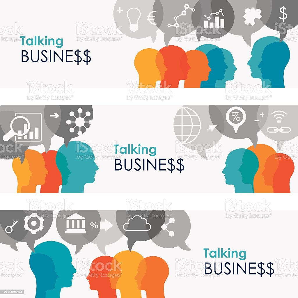 Talking Business Online Banners vector art illustration
